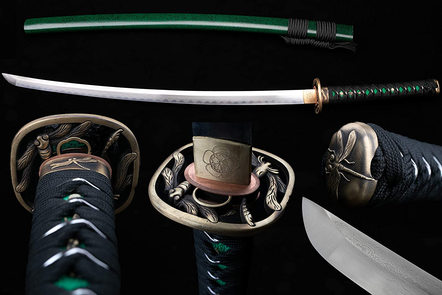 BOHIHYU Handforged Ninja Samurai Katana, Damascus steel/1095(T10) High Carbon Steel, Full Tang Blade, Sharp Knife, Real Battle Swords, Antique Copper Tsuba, Solid Wood Saya