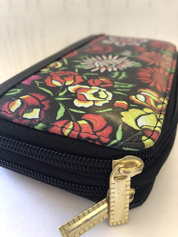 0a1f729d5df cartera con cierre para mujer, monedero con cierre para mujer, monedero  artesanal, istmo, tehuana, impresión flores: Amazon.com.mx: Handmade