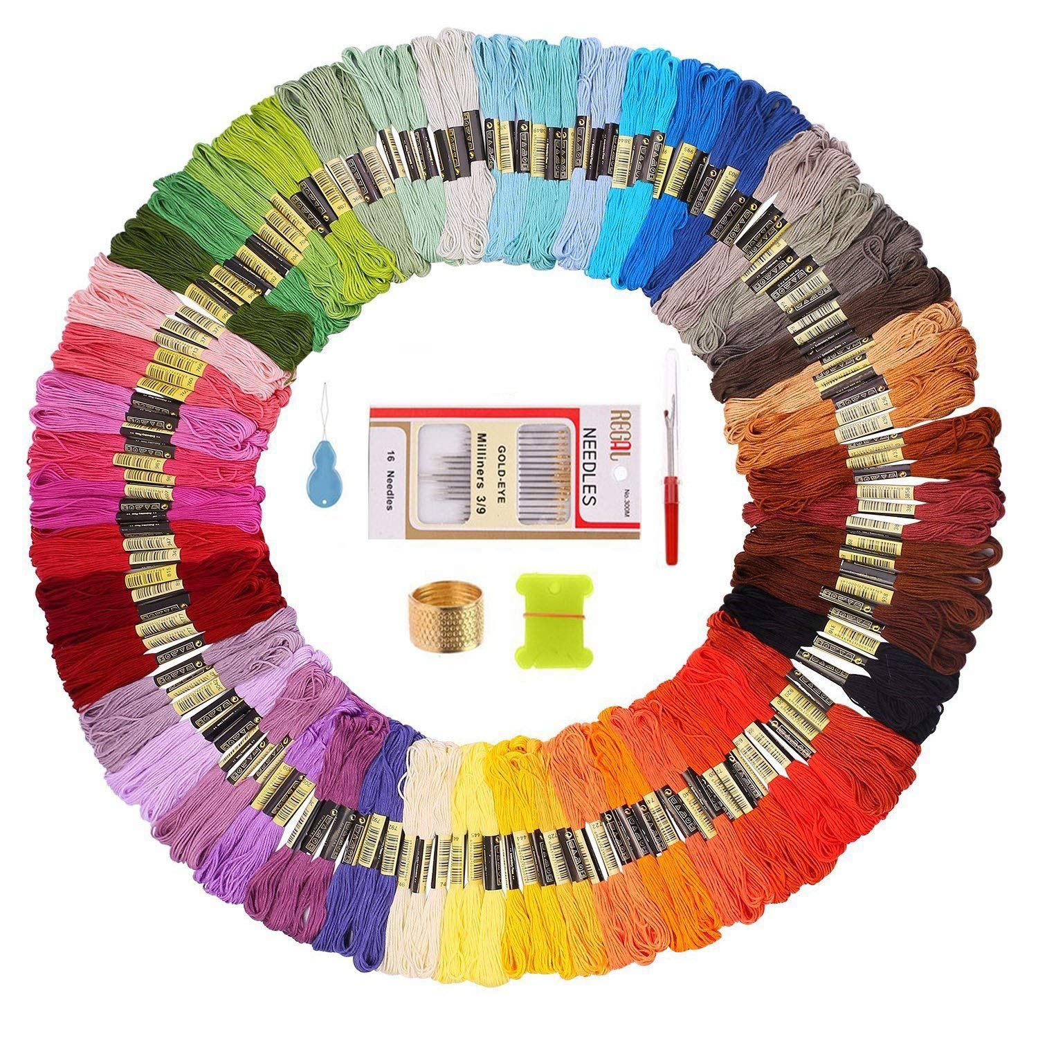 150 Embroidery Thread Skeins with 16 Needles – Friendship Bracelet String - Cross Stitch Threads - Perfect Embroidery Floss Kit for Beginners or kids crafts IU