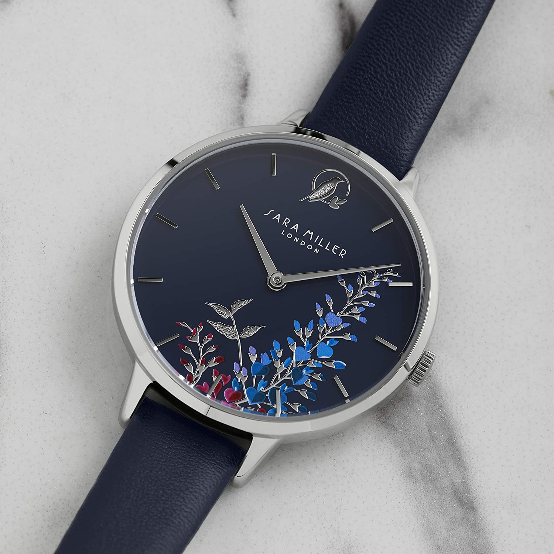 Sara Miller The Wisteria Collection SA2051 - Reloj con Correa de Piel bañada en Plata: Amazon.es: Relojes