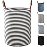 TOTANKI Large Cotton Rope Laundry Storage Basket - 15.7 Inches(D) x 19.7 Inches(H) - Collapsible Woven Basket with Leather Ha