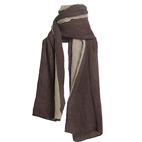 Sidiou Group Sciarpa/mantello per donna con stile etnico,Sciarpa schiacciata di cotone & lino di dop...