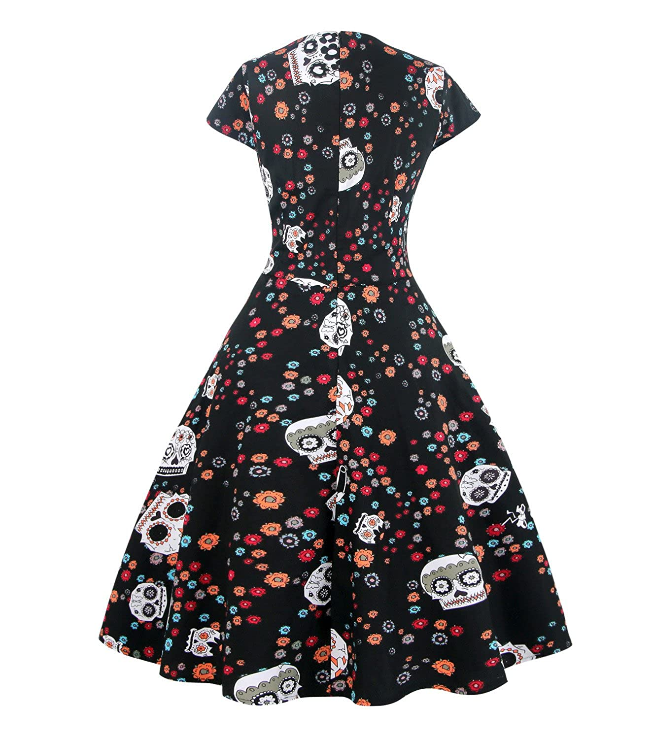 e37f504f2234 Killreal Women's Vintage Skull Floral Print Rockabilly Halloween Dress at  Amazon Women's Clothing store: