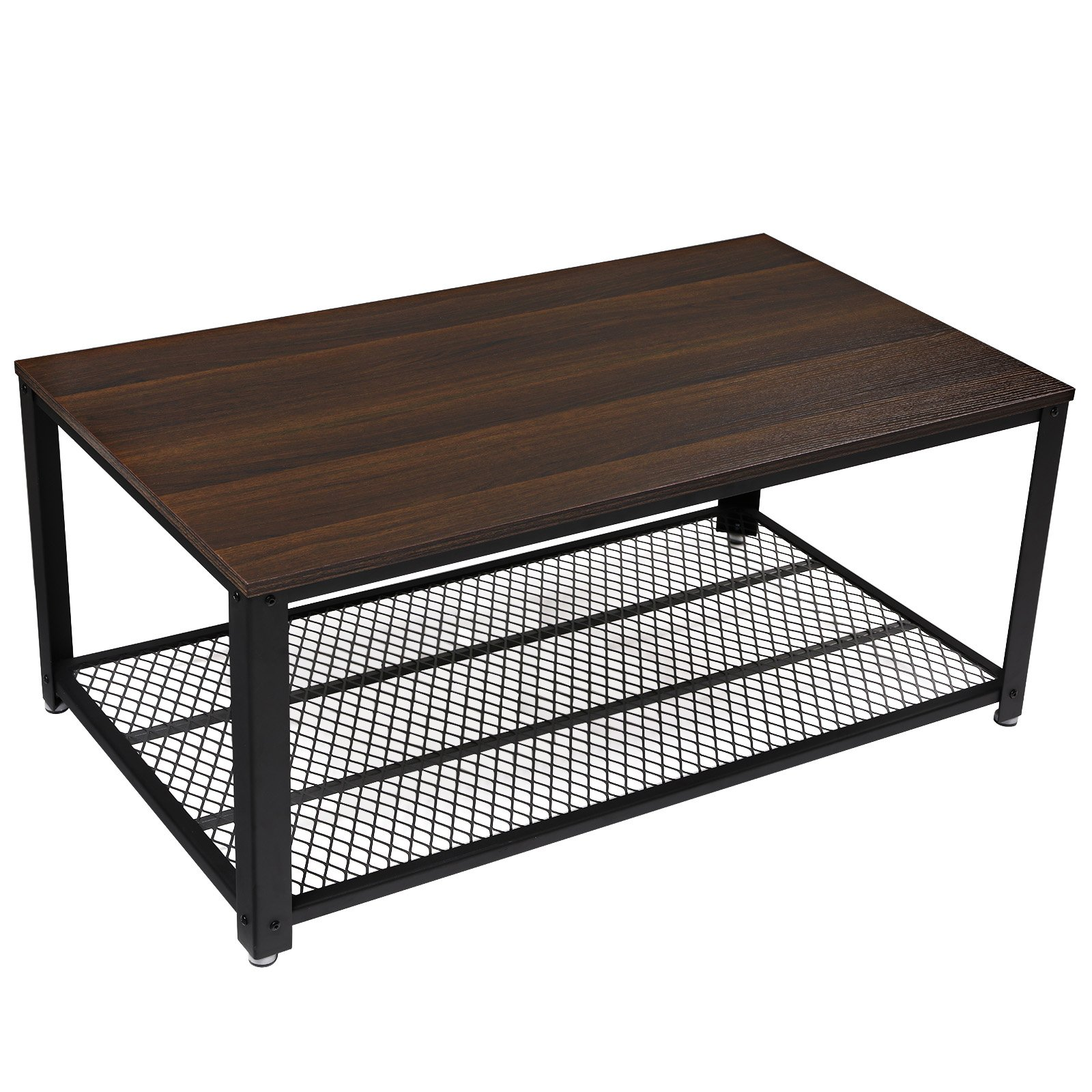 SONGMICS Coffee Table, Cocktail Table with Storage Shelf for Living Room, Easy Assembly, Dark Walnut ULCT61K