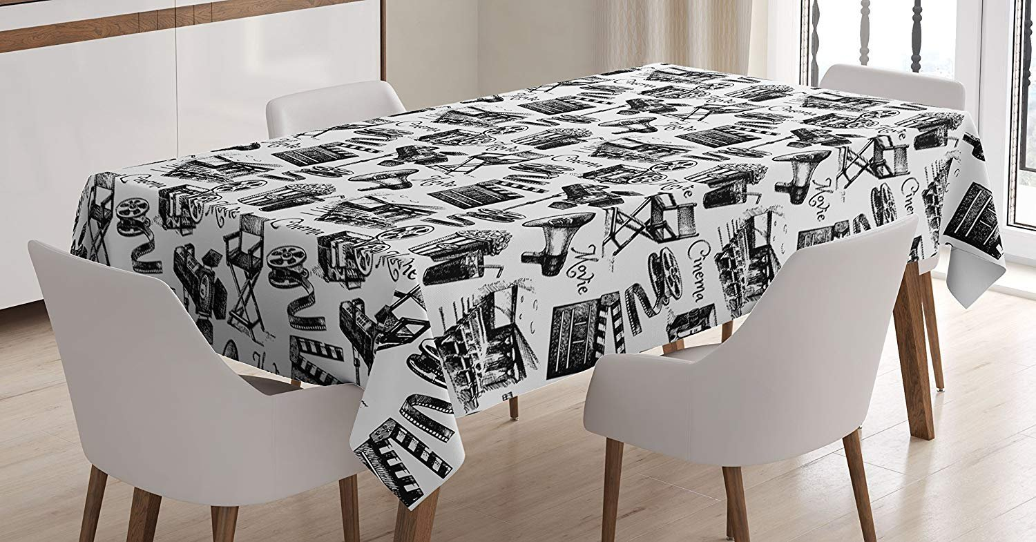 CHARMHOME Movie Cotton Linen Tablecloth, Dining Room Kitchen Rectangular Table Cover 54(W) X109(L) inchInch, Vintage Artful Film Cinema Icons Motion Lighting Camera Action Record Graphic