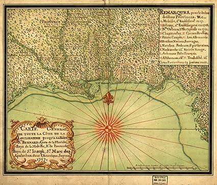 Amazoncom 1747 Map Of Gulf Coast Us Maps Manuscript Early Works - Early-us-maps