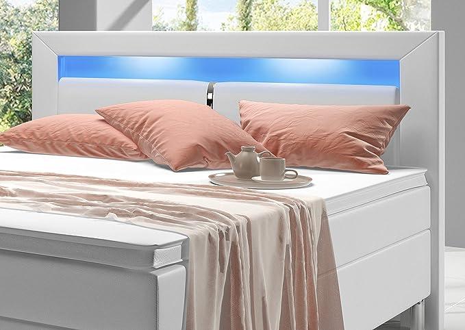 Cama doble Box Spring de Home Collection24 de 180 x 200 cm con colchón de muelles Bonell y topper H3, con iluminación Led, cama de hotel, 100% poliuretano, ...