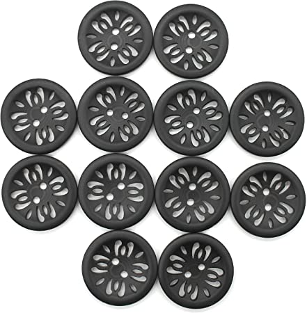 Raydodo 12 Pcs 25mm Matt Black Buttons 1 Inch for Sewing Buttons Large 2-Holes Flatback Vintage Craft Buttons for Crafts and DIY Handmade Repair Clothing (Black)