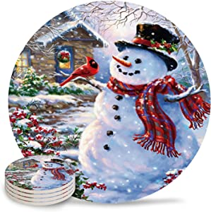 Christmas Snow Scene Snowman with Birds Absorbent Coasters for Drinks Set of 4 - Housewarming Gift Round Cup Mat Pad for Home Kitchen Dinners Holiday Party Living Room Decorations