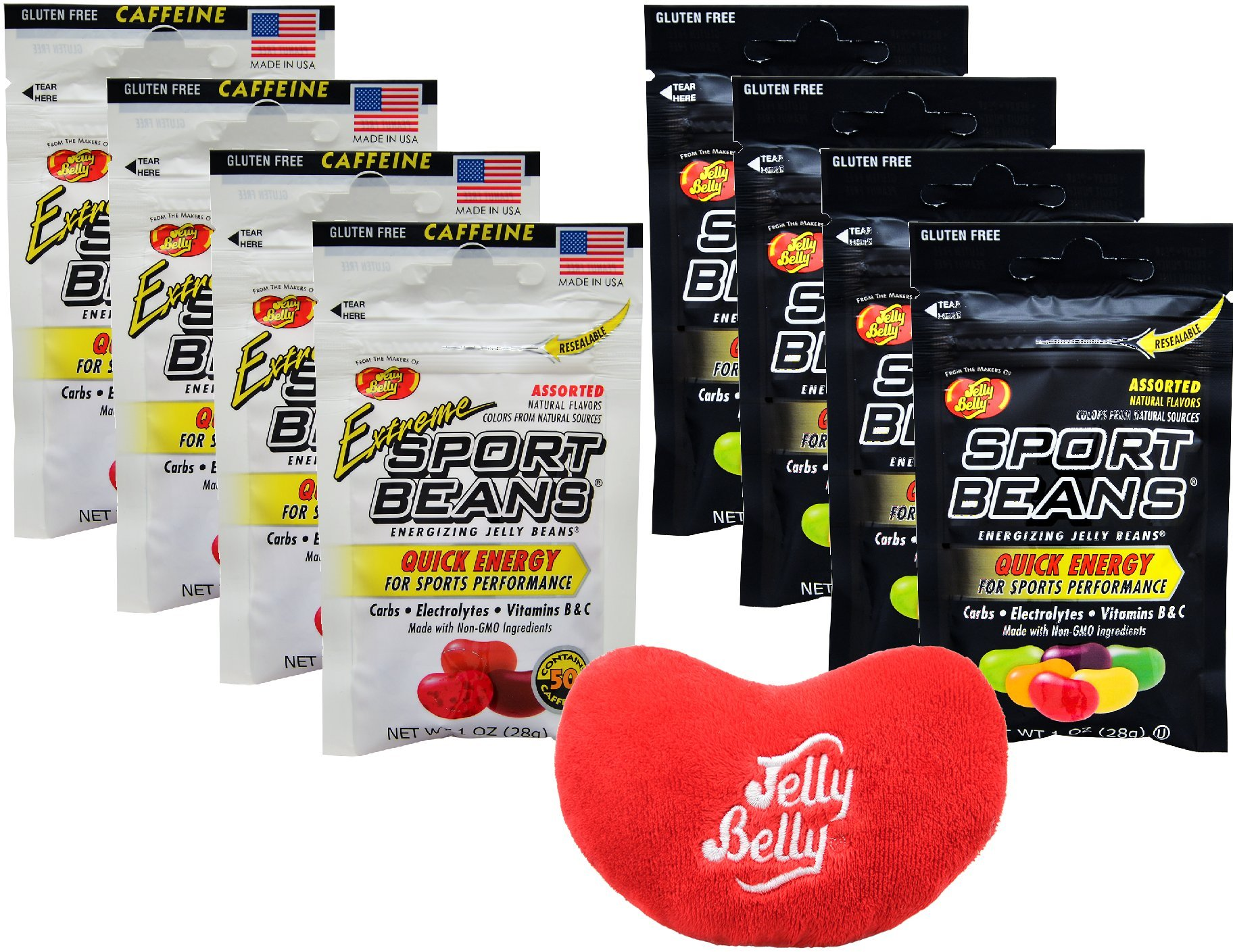 Jelly Belly Jelly Beans Jelly Belly Sports Beans Assorted Quick Energy from Caffeine and Electrolytes - 4 Extreme and 4 Original 1 Ounce Bags (Pack of 8) - with Jelly Belly Emoji Mini Plush Toy by By The Cup