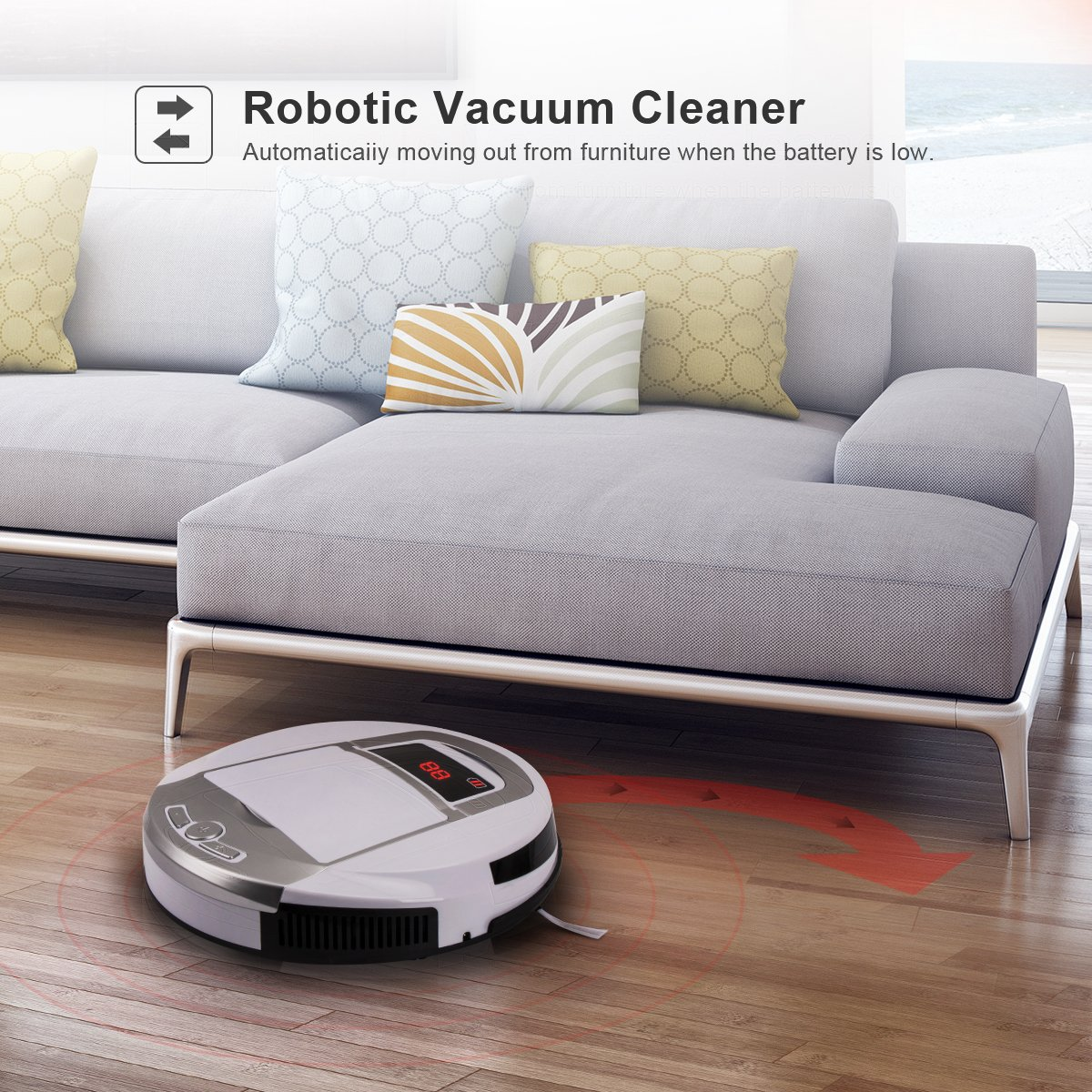 Robotic Vacuum Cleaner, Rechargeable Robotic Vacuum with Strong Suction and HEPA Double Filter, Anti-Cliff and Anti-Bump Sensor Robot for Pet Hair, Fur, Allergens, Thin Carpet, Hardwood and Tile Floor by FORTUNE DRAGON (Image #6)
