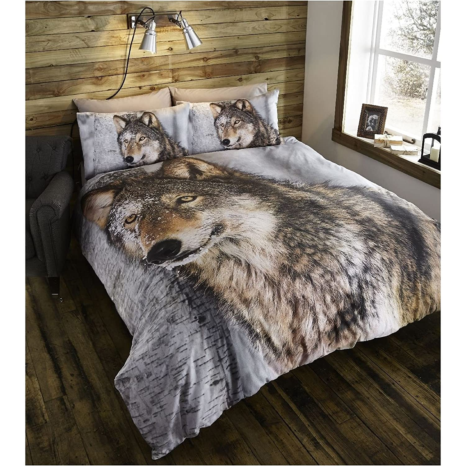 WOLF SINGLE DUVET COVER SET 100/% COTTON EUROPEAN BEDDING WILDLIFE