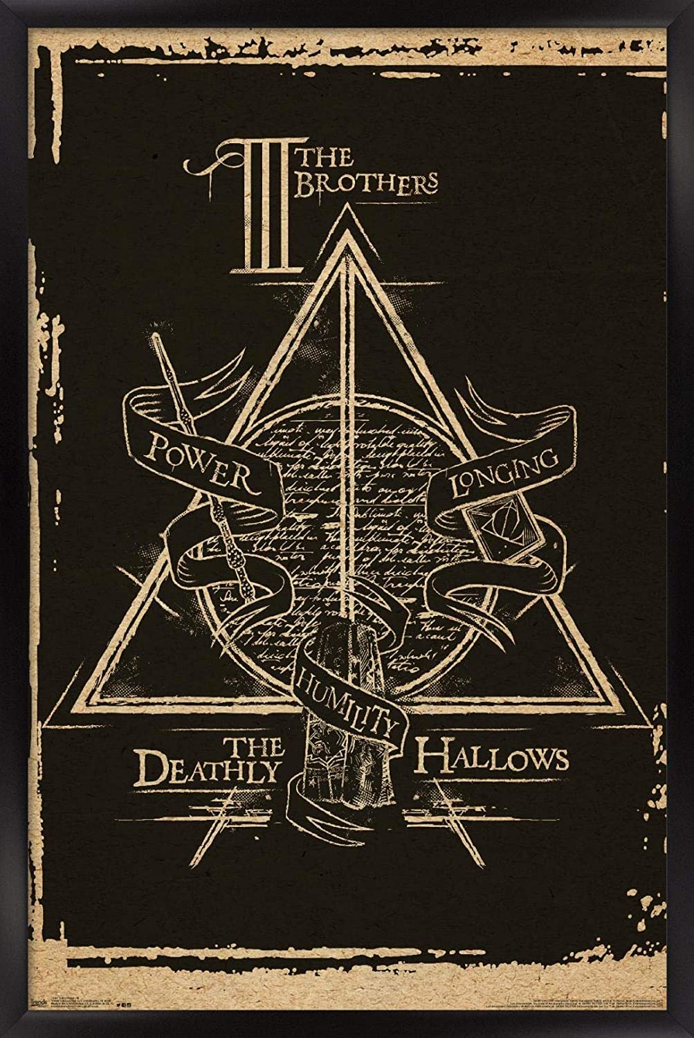 """Trends International Harry Potter - Deathly Hallows - The Brothers - Symbol Wall Poster, 22.375"""" x 34"""", Black Framed Version"""