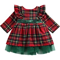 BABAMOON Toddler Baby Girls Christmas Dress Plaid Fly Sleeve Mesh Patchwork Bow-Knot One-Piece Princess