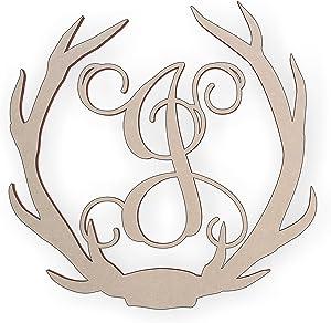 Jess and Jessica Wooden Deer Antler Monogram Letter J for Wall Decor or Door Hanger, Great for Gifts