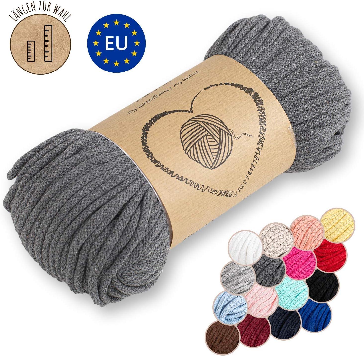 Amazinggirl Hilo Macrame 5 mm trapillo bobinas - Cuerda Algodon Cordon para Trenzado Tejer a Crochet Manualidades Gris