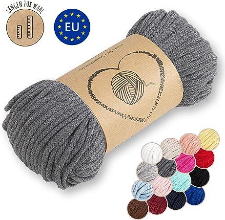Amazinggirl Hilo Macrame 5 mm trapillo bobinas - Cuerda Algodon Cordon para Trenzado Tejer a Crochet Manualidades Gris: Amazon.es: Hogar