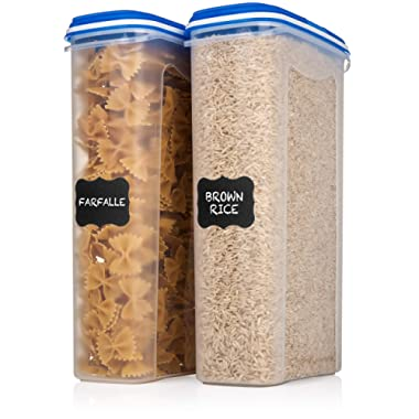 2 Large Shazo Food Storage Containers - 2.5L / 84 Oz - Airtight Cereal/Dry Food Storage Containers with Innovative Dual Utility Interchangeable Lid, FREE Labels & Marker, One Lid Fits All