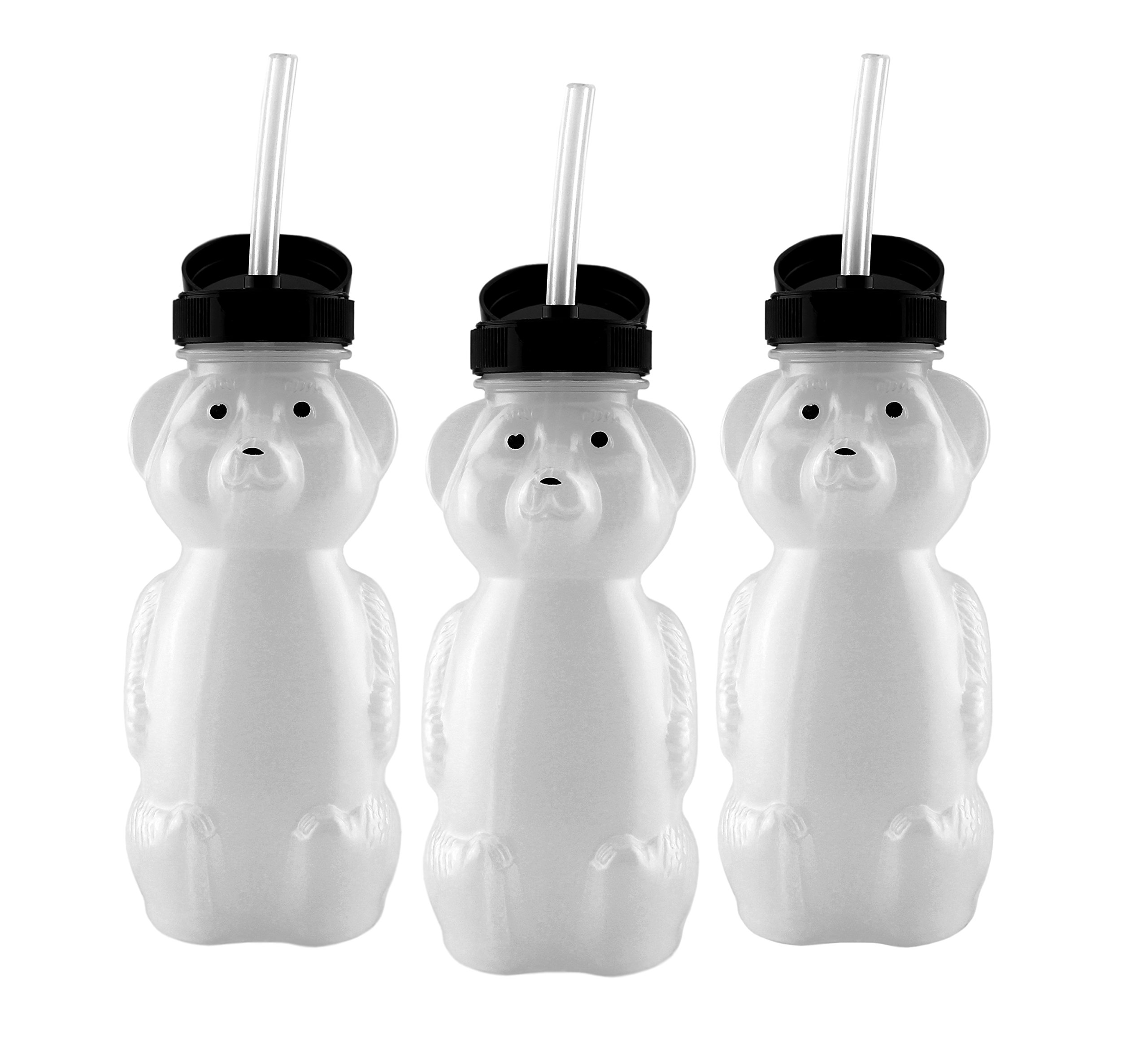 Honey Bear Straw Cups (3-Pack); 8-Ounce Therapy Sippy Bottles w/Flexible Straws by Cornucopia Brands