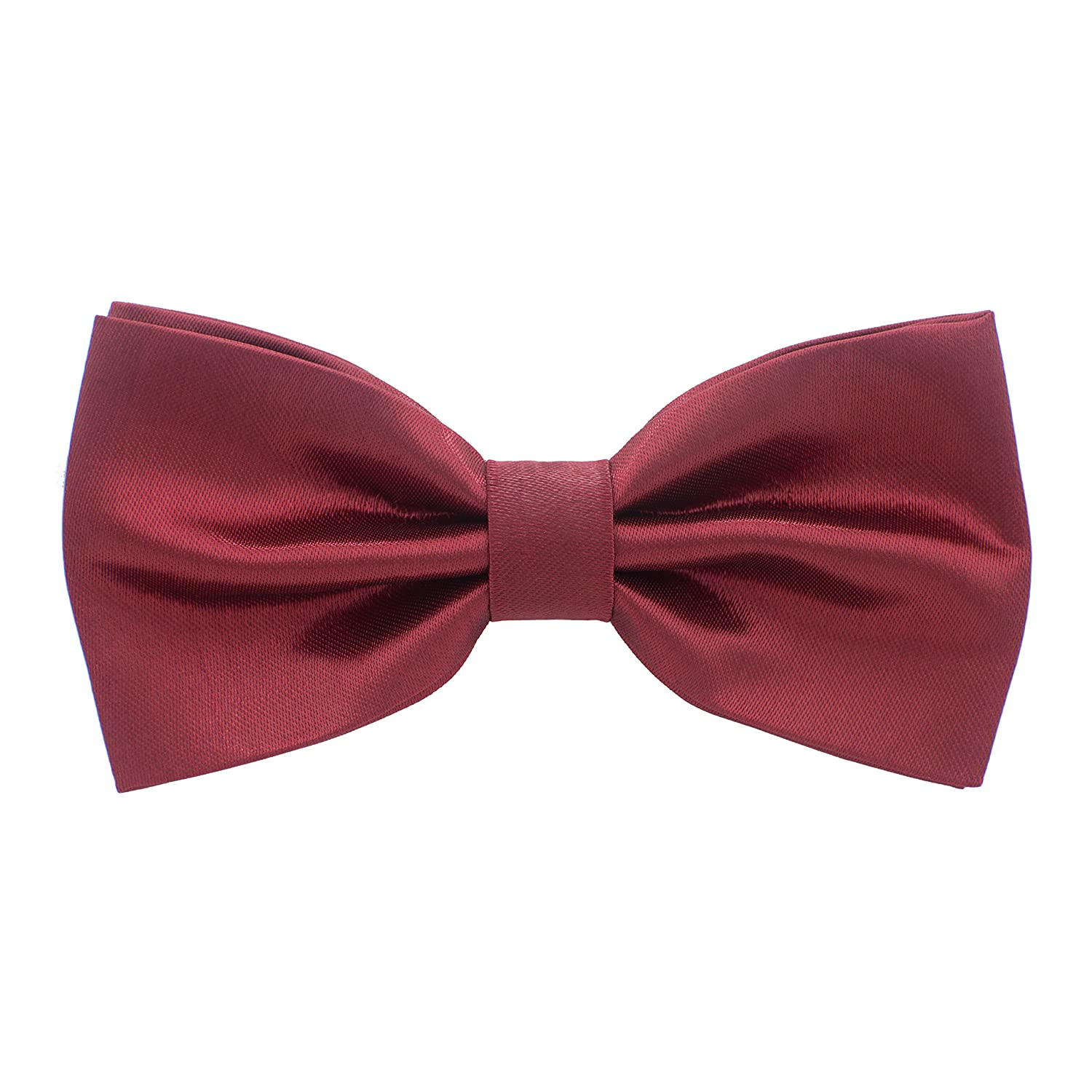 Satin Classic Pre-Tied Bow Tie Formal Solid Tuxedo, by Bow Tie House (Medium, Dark Red) 09564
