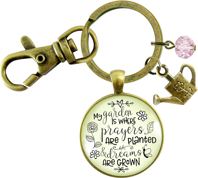 Gutsy Goodness Faithful Gardener Keychain My Garden Where Prayers Are Planted Womens Gift Jewelry