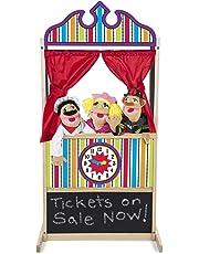Melissa & Doug Deluxe Puppet Theater, Sturdy Non-Tip Base, Plush Curtains, 132.08 cm H × 45.72 cm W × 62.865 cm L