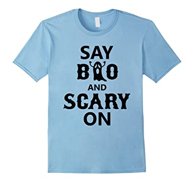 Mens Say Boo And Scary On Funny Halloween T Shirt 2XL Baby Blue