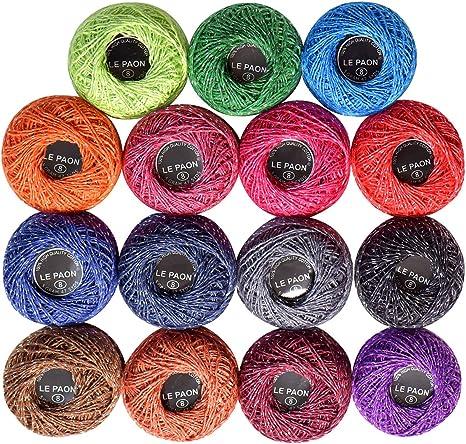 Le Paon - Pack de 15 piezas de hilo de crochet de algodón metálico de 15 colores,