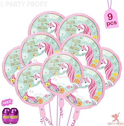 Party Propz 9Pcs Unicorn Foil Balloons with Free Curling Ribbon for Unicorn Theme Birthday Party Supplies