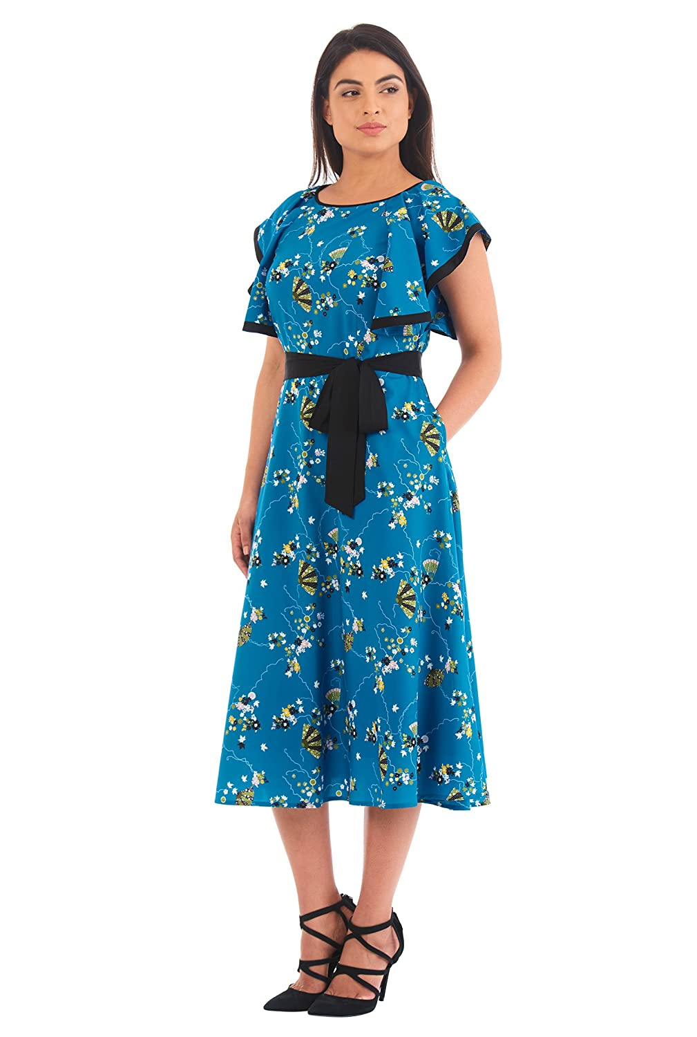 1940s Style Dresses and Clothing eShakti Womens Flutter sleeve floral fan print crepe dress $76.95 AT vintagedancer.com
