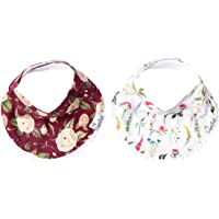 "Baby Bandana Drool Bibs for Drooling and Teething 2-Pack Fashion Bibs Gift Set for Girls ""Scarlet"" by Copper Pearl"