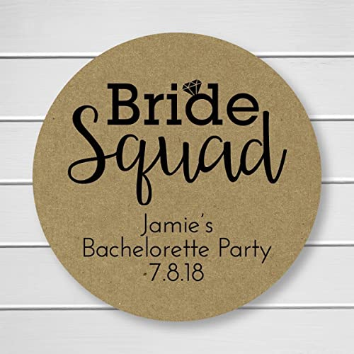 Bride squad bachelorette party stickers kraft printed bachelorette party labels personalized kraft labels