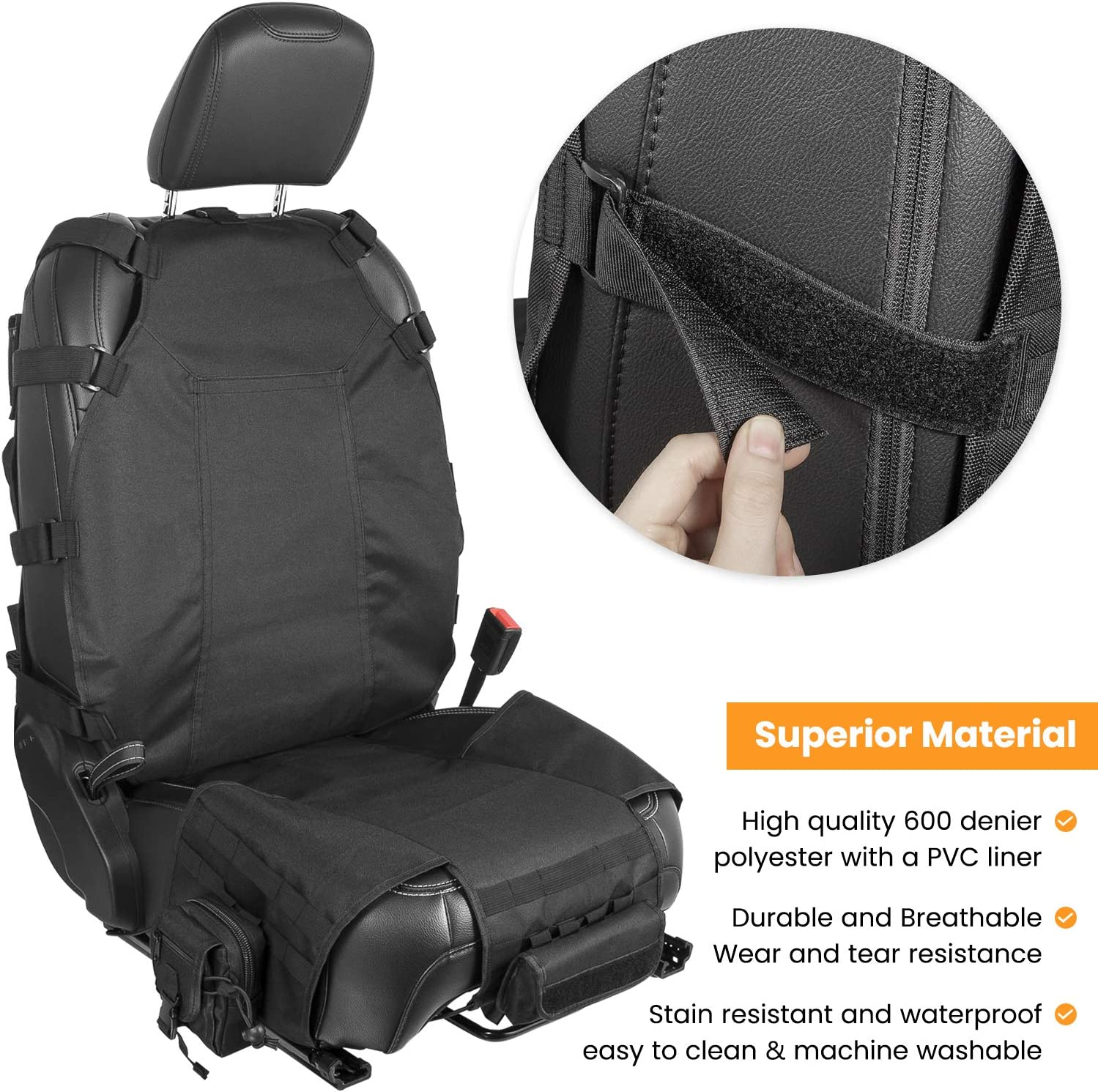 E-cowlboy Universal Seat Cover Case with Organizer Storage Muti Pocket fit Jeep Wrangler JK JL Unlimited CJ YJ Cherokee Rubicon Ford F150 Ridgeline Toyota Chevy Seat Protector Multiple Pockets