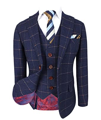 ee7c8c326 Designer Boys Dark Blue Gold Slim Fit Windowpane Check Suit: Amazon.co.uk:  Clothing