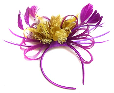 Plum Magenta and Gold Feather Hair Fascinator Headband Wedding Royal ... 0216bf53f70