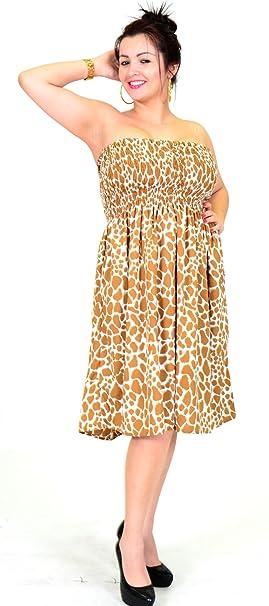 SURNOSE Animal Print Sexy Partywear Tubo Vestido Playa Encubrir