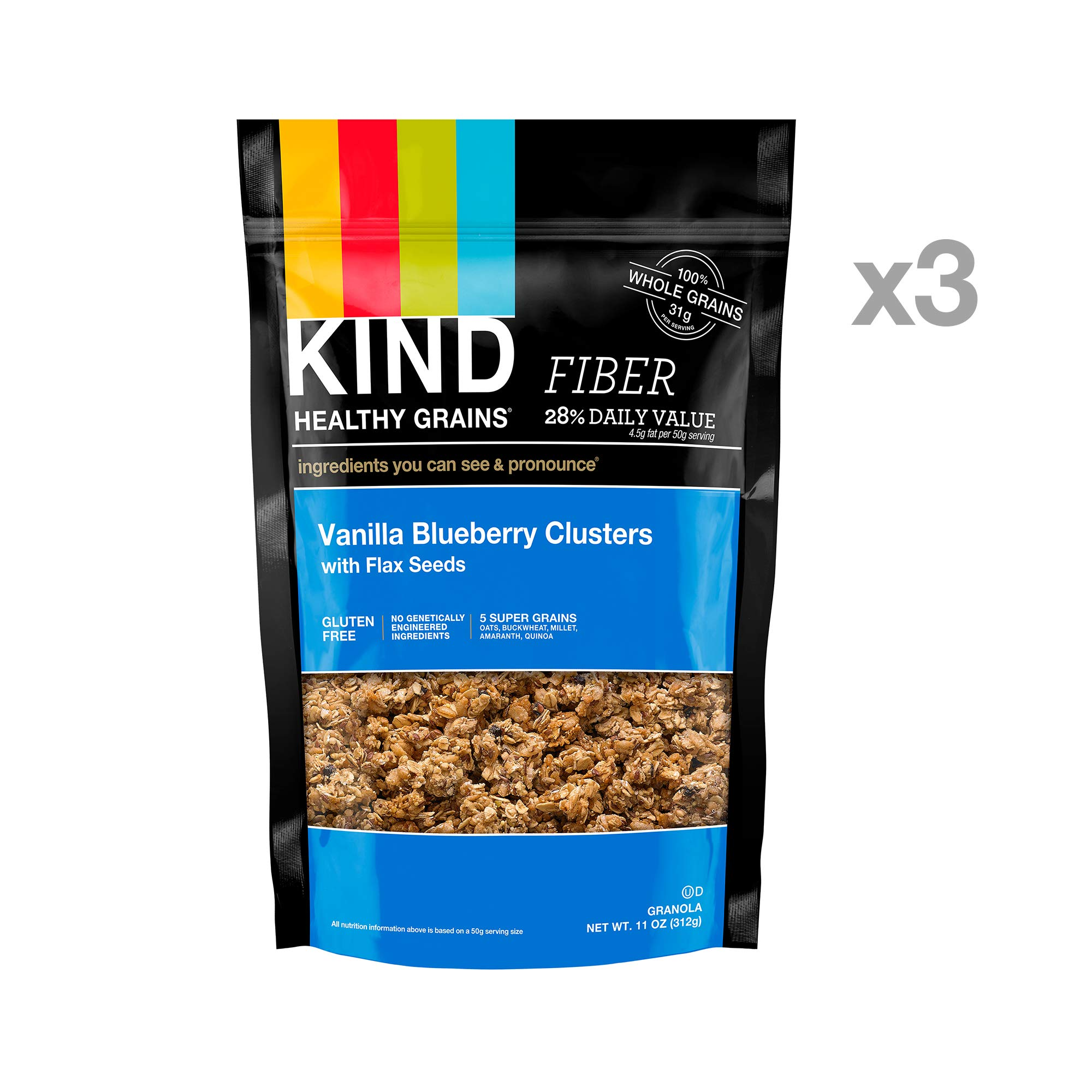 KIND Healthy Grains Granola Clusters, Vanilla Blueberry with Flax Seeds, Gluten Free, 11 Ounce Bags, 3 Count by KIND (Image #2)