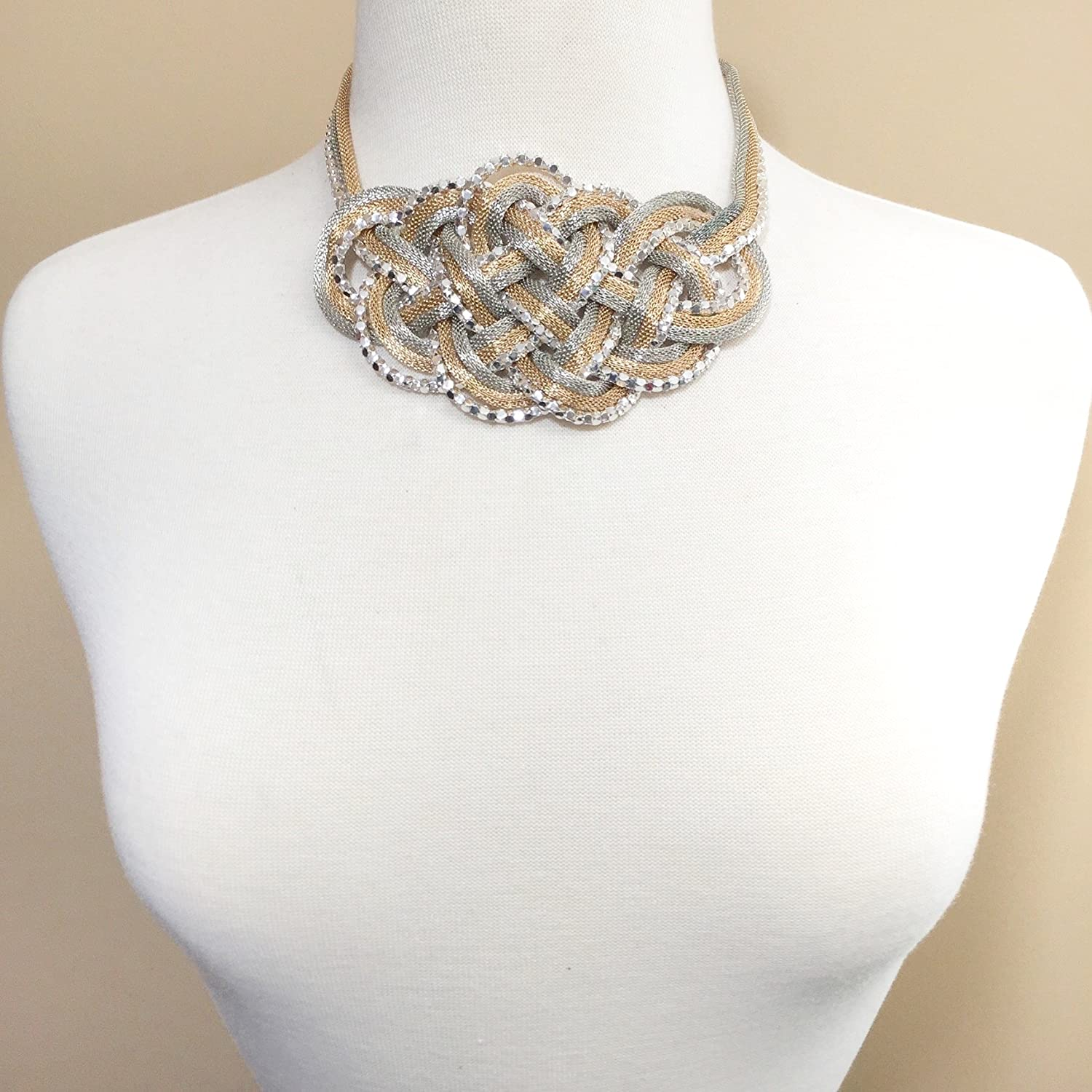 Gypsy Jewels Braided Knot Multi Strand Statement Necklace /& Post Earrings Set