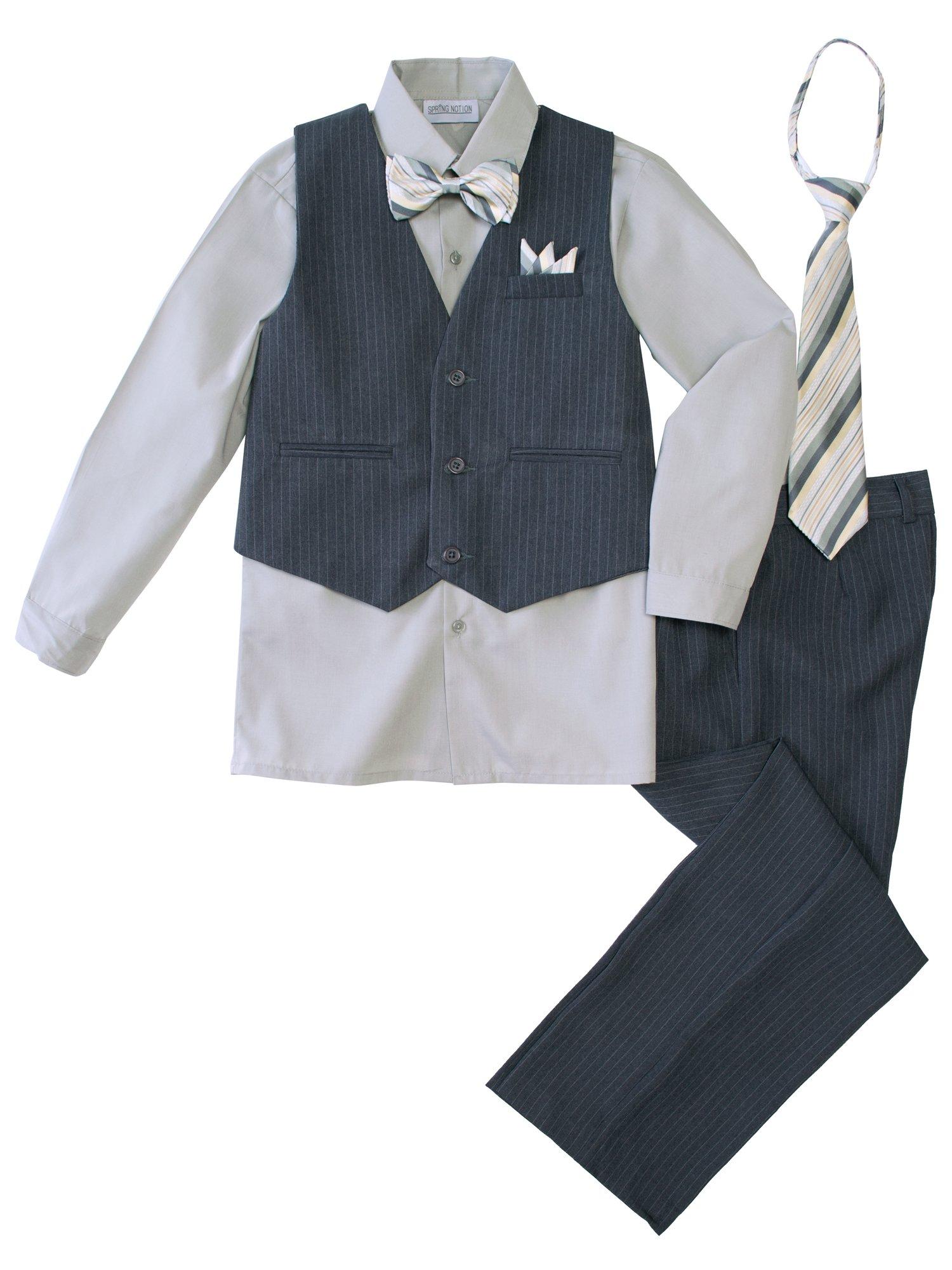 Spring Notion Big Boys' 5 Piece Pinstripe Vest Set with Necktie and Bowtie 2T Grey