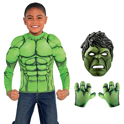 Party City Instant Hulk Transformation in a Box for Child, Halloween Costume, Includes Muscle Shirt, Mask and Hands: Kitchen & Dining