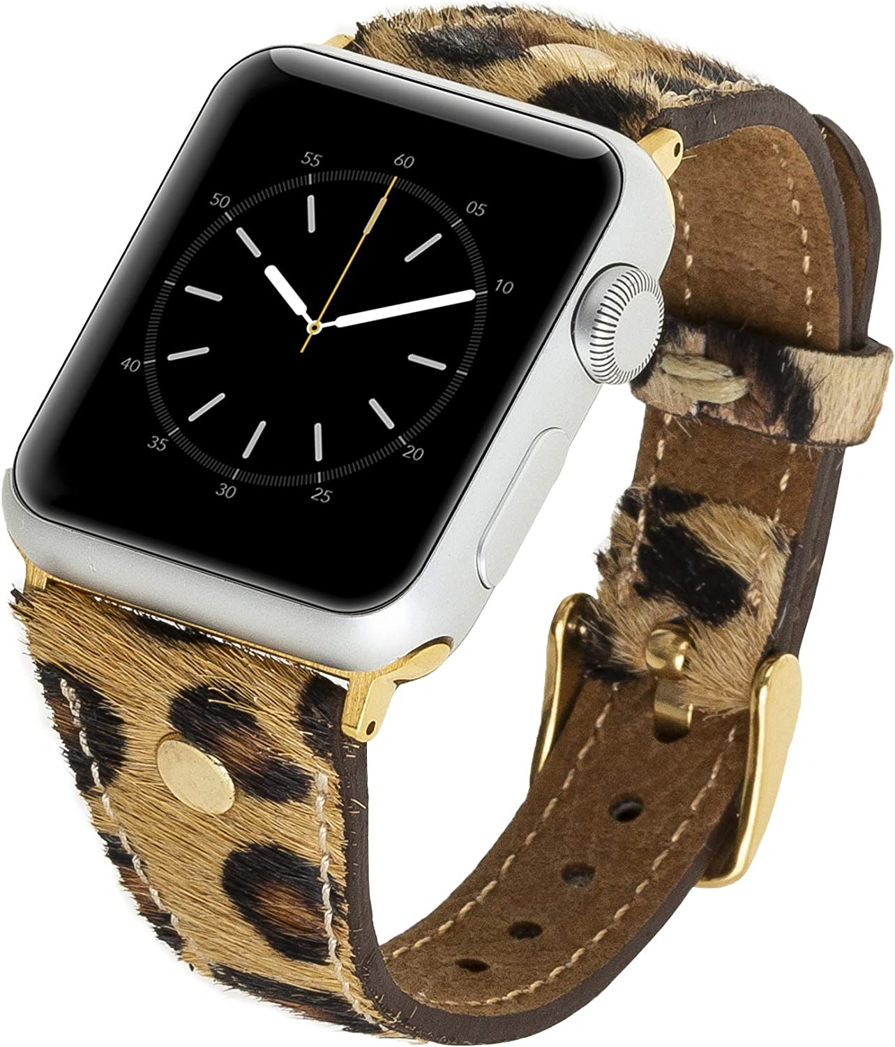 Venito Sessa Premium Slim Leather Watch Band w/Gold Stud Compatible with The Newest Apple Watch iwatch Series 6 as Well as Series 1,2,3,4,5 (Furry Leopard w/Gold Stainless Steel Hardware, 38mm-40mm)