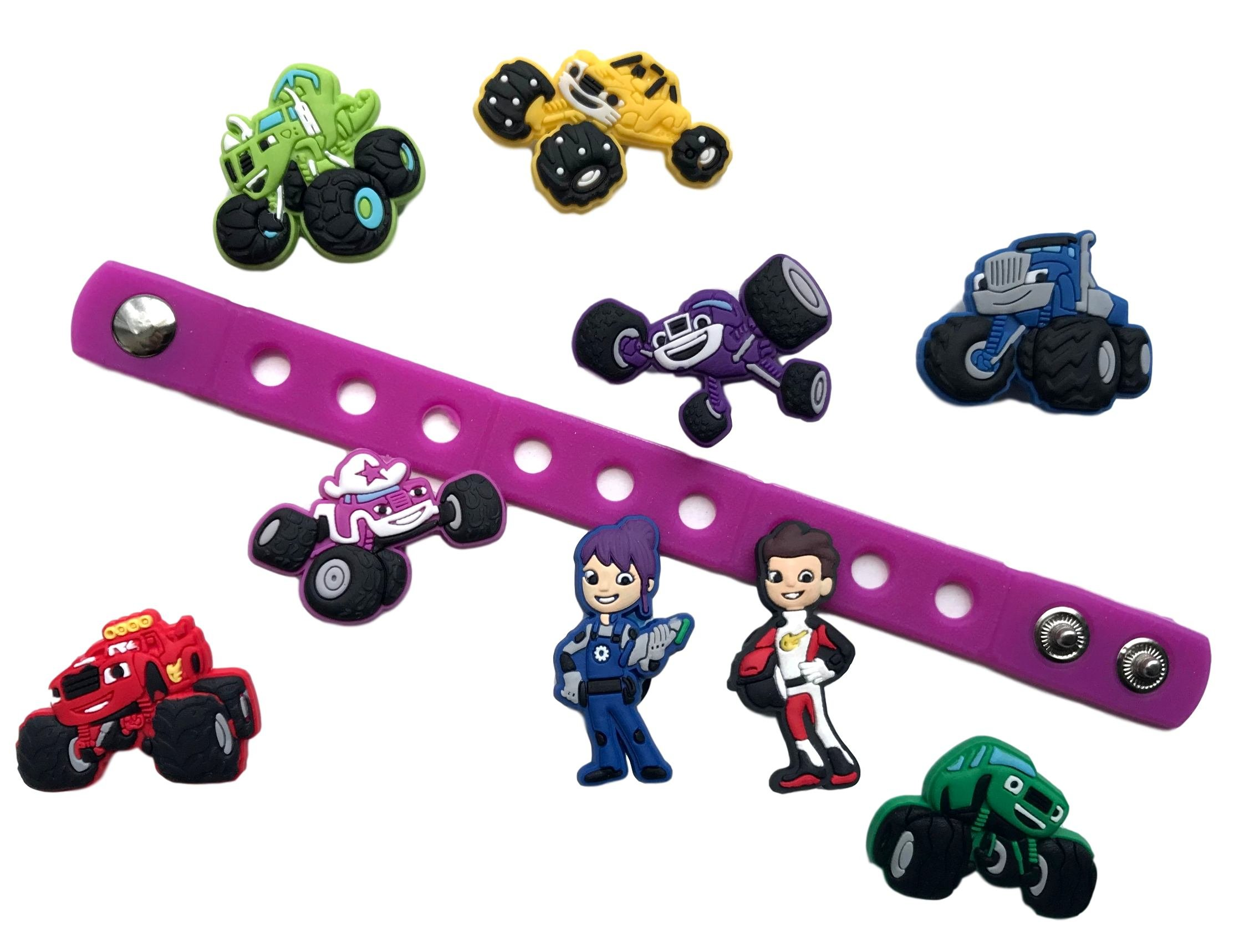 Cute Jibbitz Shoe Charms PVC Plug by Nenistore|Accessories for Crocs Shoes & Bracelet Wristband Party Gifts | Monster Truck Racing (9 pcs) & 01 Silicone Wristband 7 Inches