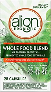 Align Probiotic, Whole Food Blend, No. 1 Doctor Recommended Brand, Multi-Strain Probiotic + Fermented Whole Food Botanicals, Naturally Supports Digestive Health, 28 Capsules