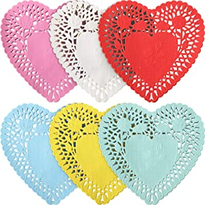 400 Pieces Valentine Heart Doilies Mini Small Lace Paper 4 Inch 6 Colors Heart Shape Cutouts, Doilies Crafts for Valentine's Day Wedding Party Decoration cupcake Dessert
