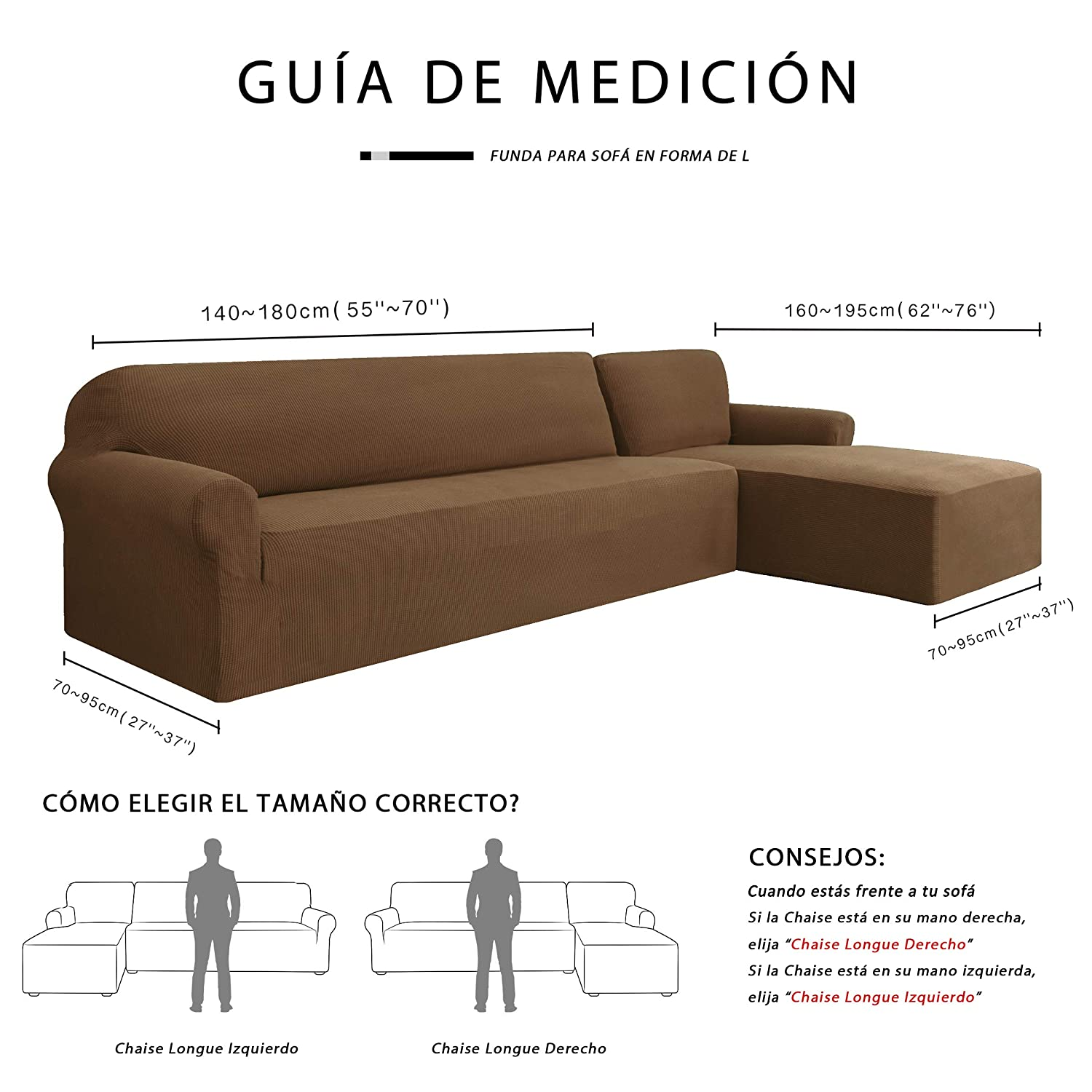 subrtex Funda Sofa Chaise Longue Brazo Derecho Elastica Largo Protector para Sofa Chaise Longue Derecha Antimanchas Ajustable (Marron)