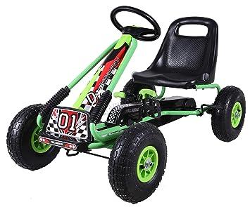 FoxHunter Kids Children Outdoor Go Kart Ride On Car With Pedal Rubber  Wheels Handbrake Adjustable Seat G02 Green