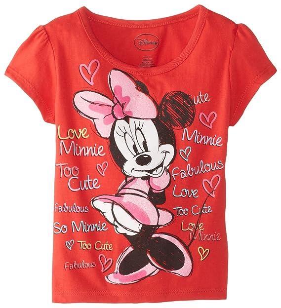 2767bb96d80 Amazon.com  Disney Girls  Short Sleeve Minnie Mouse Red T-Shirt ...
