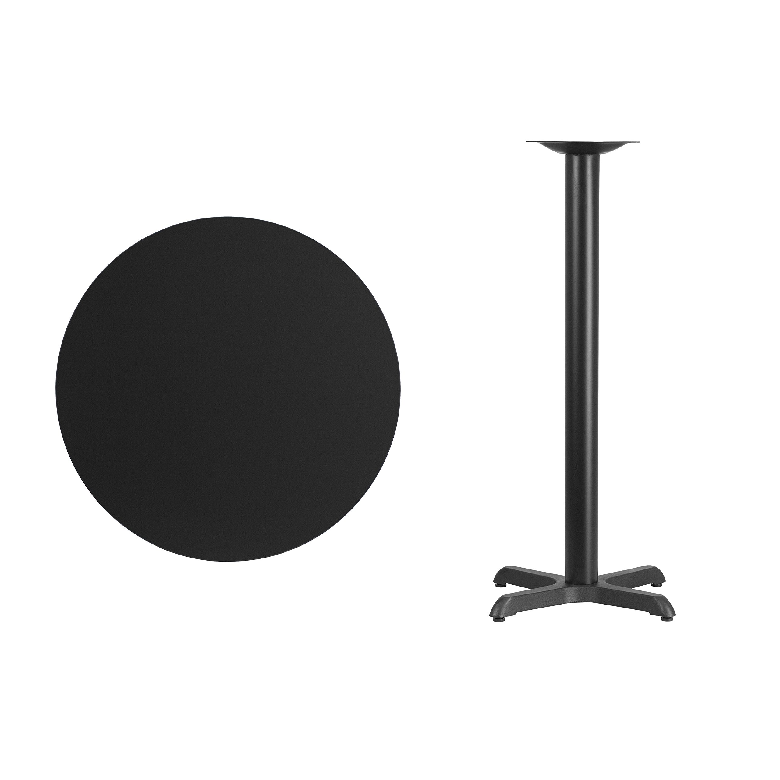 Flash Furniture 30'' Round Black Laminate Table Top with 22'' x 22'' Bar Height Table Base