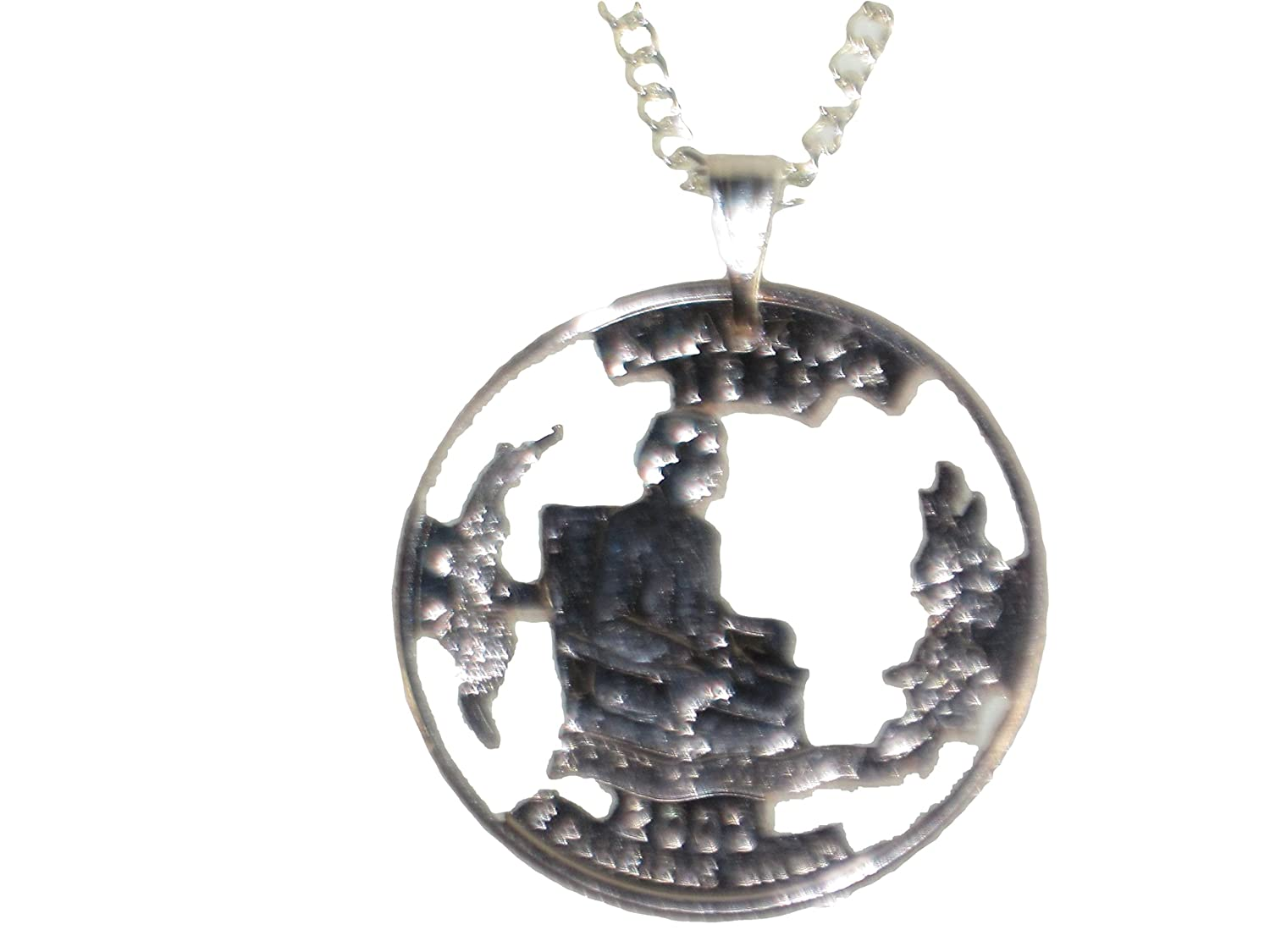 Hand Cut Alabama Quarter Mounted with a Bale and 24 Inch Silver Tone Chain