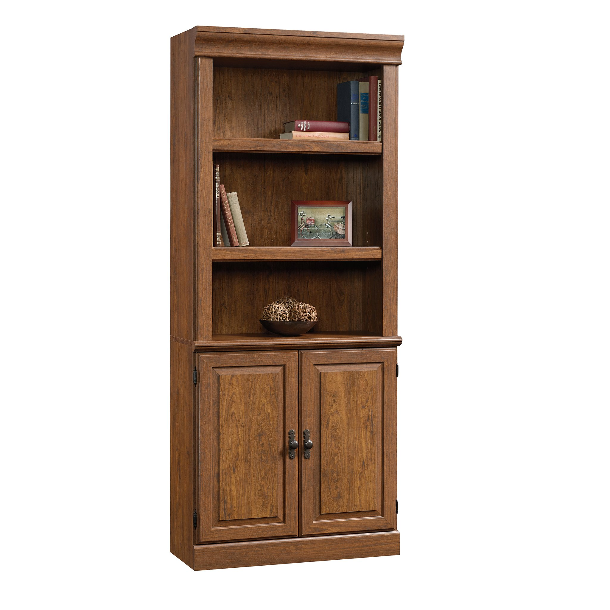 Sauder 418734 Orchard Hills Library with Doors, L: 29.45'' x W: 13.47'' x H: 71.50'', Milled Cherry finish